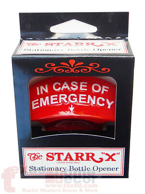 Red Embossed IN CASE OF EMERGENCY Starr X Wall Mount Bottle Opener Cast Iron 3