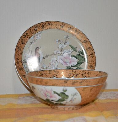 Japanese Kutani-ware Flower Bird pattern Bowl and Plate set Gold Cherry Blossom. 2