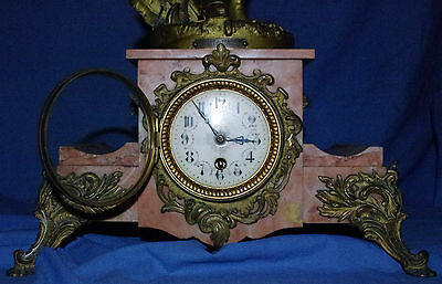 Clock Victorian Antique Large Marble Mantel Mantle No Reserve