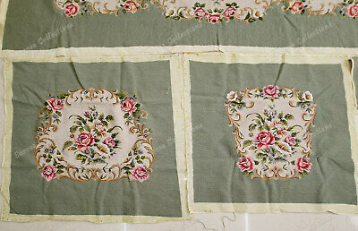 Light Olive Victorian Blooming Roses VTG Reproduction Chair Sofa Cover Sets 7