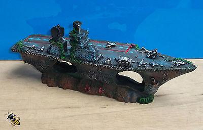 Aquarium Ornament Aircraft Carrier Shipwreck Battle Ship Fish Tank Cave Hide 2