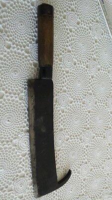 Antikes Beil Fleischerbeil antik mit Holzgriff punziert Goldenberg Länge ca.37cm 6