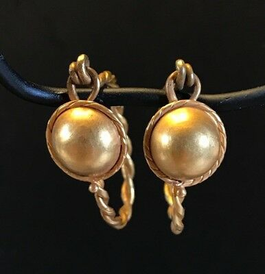 Ancient Roman-Byzantine Pair Of Earrings; Twisted Wire And Shield, Solid Gold! 2