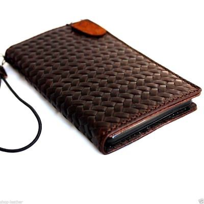 genuine real leather Case for apple iphone 6s plus book wallet slim cover brown 5