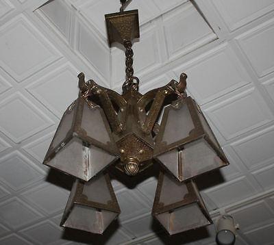 Arts & Crafts mission Hand Hammered hanging slag light glass Chandelier fixture 4 • CAD $5,398.56