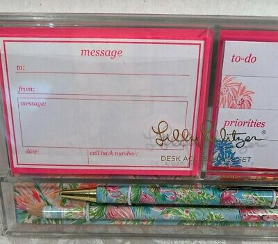 Lilly Pulitzer Desk Accessory Set Flamingo Pattern Retail $26.00 NWT 2