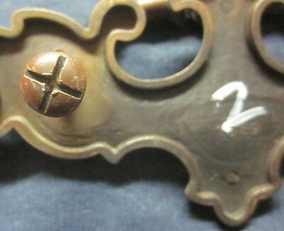 """1 antique 1589 brass armoire 5-1/4"""" drawer drop bail pull handle holes=3""""C-C"""