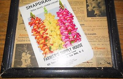 1941 NC SEED PACKAGE Framed Wall Decor AD Farmer Supply 3