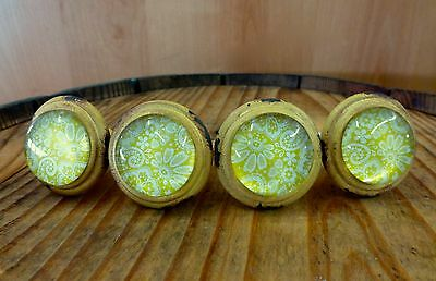 4 YELLOW-WHITE LACE GLASS DRAWER CABINET PULLS KNOBS VINTAGE DISTRESSED hardware 2