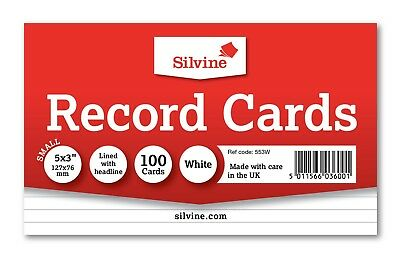 Revision/Flash/Index Silvine Record Cards - White/Ruled/Coloured FREE P&P 3