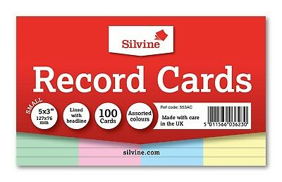Revision/Flash/Index Silvine Record Cards - White/Ruled/Coloured FREE P&P 2