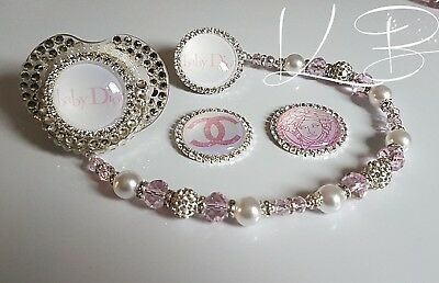 Bling *Diamante Button* Shamballa Romany Dummy Clip Girl *Any Name* Pink/white 4