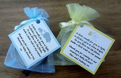 Baby Shower Candle Tea Light Favours Blue Pink Yellow Guest Thank You Gifts 10