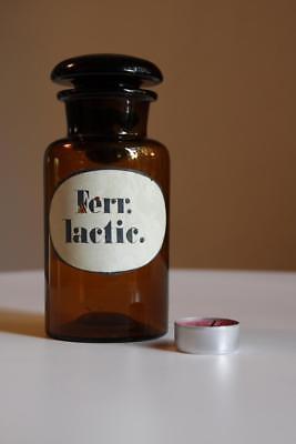Apothekerflasche, Form selten, rund, alt, FERR. LACTIC. SCHLIFF STOPFEN 5