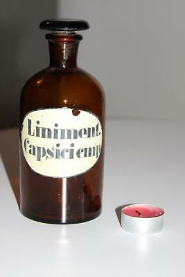 Apothekerflasche, Form selten, rund, alt, LINIMENT. CAPSICI CMP SCHLIFF STOPFEN