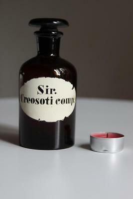 Apothekerflasche, Form selten, rund, alt, SIR. CREOSOTI COMP. SCHLIFF STOPFEN 4