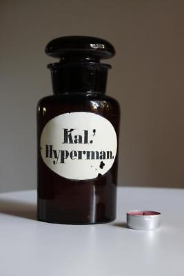 Apothekerflasche, Form selten, rund, alt, KAL. HYPERMAN. SCHLIFF STOPFEN