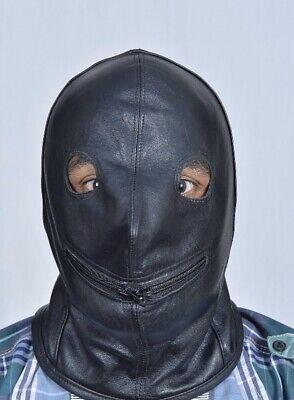 Genuine Real Leather Bondage BDSM Hood Fetish Mask Role Play 2