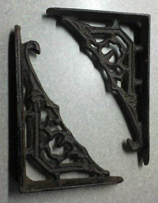 Beautiful small cast iron VIctorian Flower wall shelf BRACKETS - pairs 3