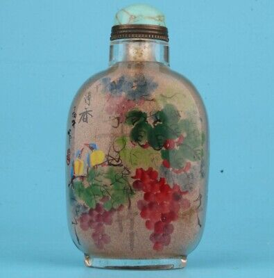 Vintage China Glass Snuff Bottles Painted Flower Inside 3