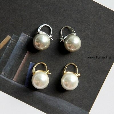 Boucles d/'Oreilles Dormeuse Argenté Gros Perle Gris 14mm Class Plaqué Or QD4