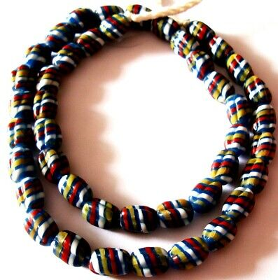 """Rare 23"""" 43 Bead Ancient Phoenician Spiral Spiral Colorful Opaque Glass Necklace 9"""