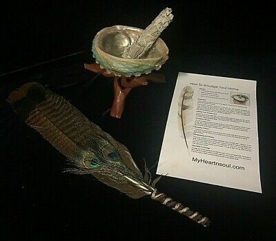 Complete Smudge Kit Abalone Shell Stand Sage Feather Energy Cleansing Clearing 5