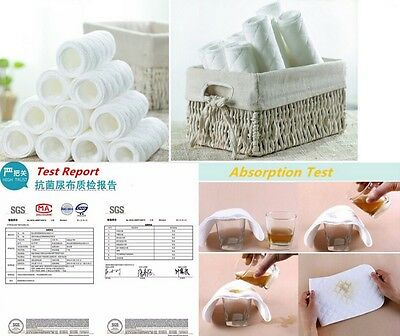 10X Washable inserts Baby Diapers 100% Cotton Cloth Diaper Layer Insert liner 2
