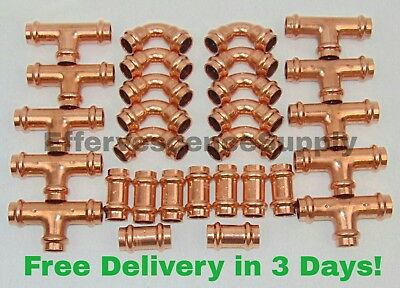 """Lot of 25 1/"""" Propress Copper Fittings.Tees Coupling Press Ball Valv Elbows"""