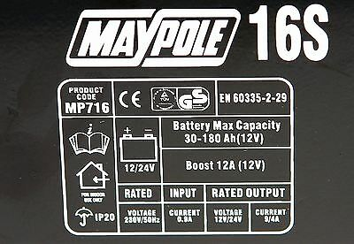New MAYPOLE MP716 12A Metal Battery Charger 12/24V Fast/Boost Mode Robust Steel 7