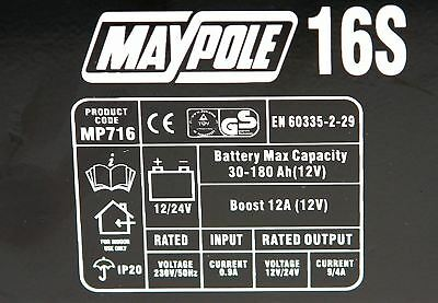 New Maypole MP716 12A Metal Battery Charger 12/24V Fast/Boost Mode Robust Steel 4