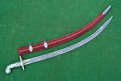 ISLAMIC GOLD DAMASCENED SHAMSHIR SWORD SABER KILIJ Tear of wound Blade الله 2
