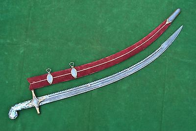 Old ISLAMIC GOLD DAMASCENED SHAMSHIR SWORD SABER KILIJ Tear of wound Blade الله 2