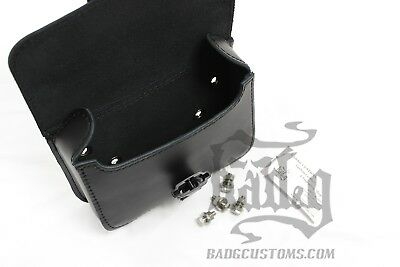 DBB06 BAD/&G CustomS Harley DYNA Battery Cover Bag Genuine Leather