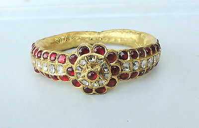 Vintage Antique 20K Gold Diamond Polki Ruby Hinge Bracelet Bangle Rajasthan Ind