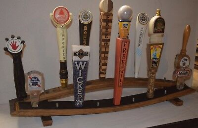 Oak Whiskey Barrel Stave 10 Beer Tap Handle Display Stand Handles