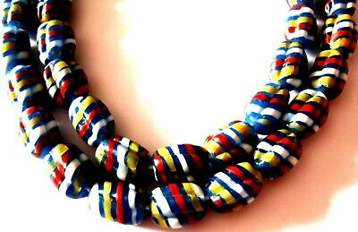 """Rare 23"""" 43 Bead Ancient Phoenician Spiral Spiral Colorful Opaque Glass Necklace 11"""