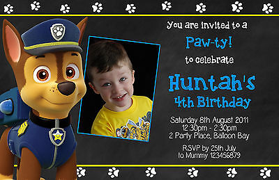 Personalised Paw Patrol Chase Birthday Party Invitations Photo Invites FREE GIFT 4
