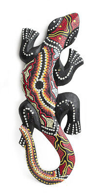 Gecko de madera Gekkota geco lagarto Pintado a mano artesanal de 30 cm 3