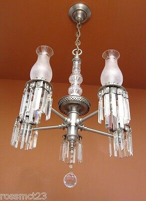 Vintage Lighting antique 1940s pewter crystal chandelier   Rare Very Beautiful 7