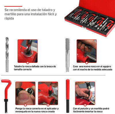 Kit Reparacion De Rosca Helicoil M5, M6, M8, M10 M12 131 Piezas Reparador -1234 3
