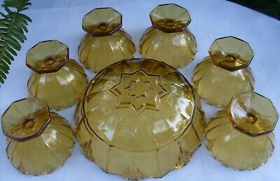 RARE Antique 1920's SOWERBY England HUMPHREY AMBER BOWLS SET VG Collectable Aust 11