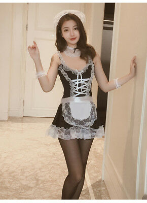 Set Costume Completo Cameriera Maid Serva Sexy Cosplay Lingerie Calze Velate Sex 4