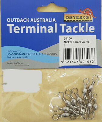 Barrel Swivel Nickel Fishing Terminal Tackle 10pc Pack Size Large 3/0 to10 Small 3