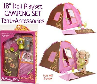 "18/"" Doll CAMPING SET Tent+Sleeping Bag+Light-Up CAMP-FIRE for American Girl Boy"