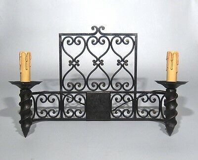 "Large Vintage French Wrought Iron Sconce, ""Chateau"" Style, 19 x 13 inches 2 • CAD $441.43"