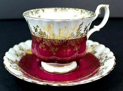 Royal Albert Regal Series Burgundy Footed Cup & Saucer Bone China 4396 Mint 2