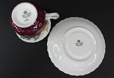 Royal Albert Regal Series Burgundy Footed Cup & Saucer Bone China 4396 Mint 8