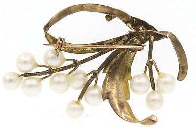 Fine Estate Vintage 14k Yellow Gold Pearl Brooch Pin 2