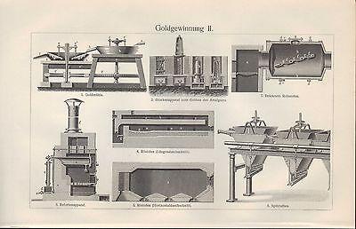 Lithografien 1906: GOLDGEWINNUNG. I/II. GOLD-SCHMIEDE-KUNST-Wäsche-Mühle 2
